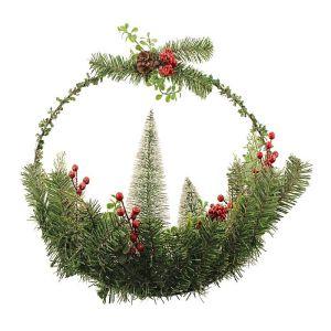 Snowy Tree Half Wreath – 50cm