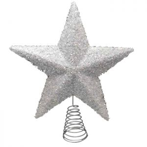 Large Sparkly Star Tree Topper - White