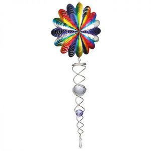 Spin Art Spectrum Wind Spinner with Crystal Tail