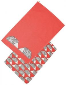 Scion Living Spike The Hedgehog Set Of 2 Tea Towels - Red