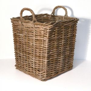 Medium Square Wicker Log Basket - Brown