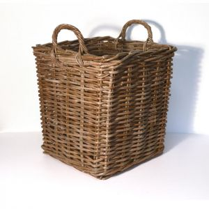 Small Square Wicker Log Basket - Brown