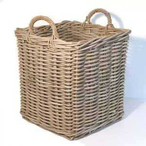 Medium Square Wicker Log Basket - Grey