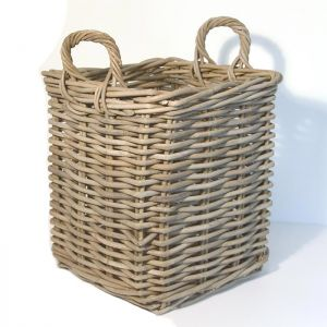 Small Square Wicker Log Basket - Grey
