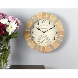 Smart Garden Outside In Stonegate Wall Clock with Thermometer - 10in
