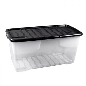 Strata Curve Clear Plastic Storage Box with Lid – 80 Litre