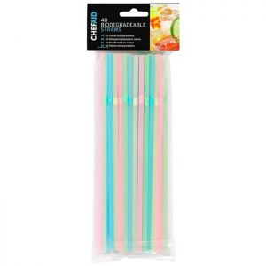 Biodegradable Assorted Drinking Straws – Pack of 40