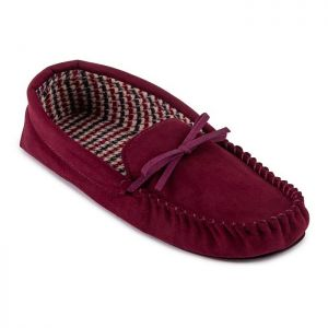 Totes Men's Suedette Check Line Moccasin Slippers – Burgundy