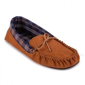 Totes Men's Suedette Check Line Moccasin Slippers – Tan