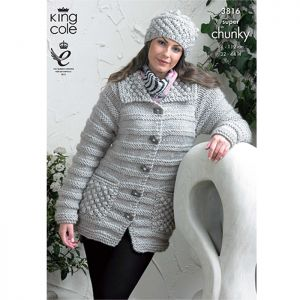 King Cole Super Chunky Jacket, Sweater and Hat  Knitting Pattern