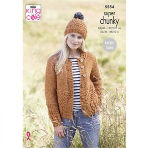 King Cole Super Chunky Scarf, Cardigan and Hat Knitting Pattern