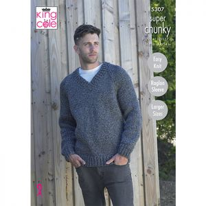 King Cole Super Chunky V-Neck Cardigan and Sweater Knitting Pattern
