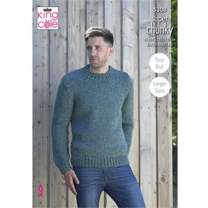 King Cole Super Chunky Waistcoat and Round Neck Sweater Knitting Pattern