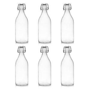 6 x Clip Top Glass Bottle, 1 Litre