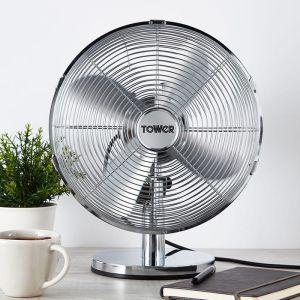 Tower Metal Desk Fan, 12in - Chrome