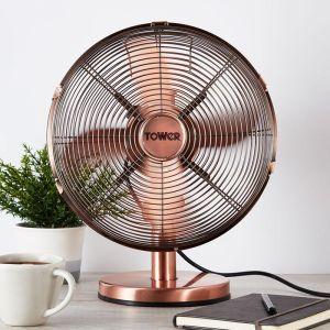Tower Metal Desk Fan, 12in - Copper