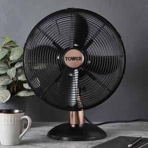 Tower Cavaletto Metal Desk Fan, 12in - Rose Gold/Black