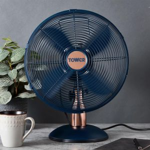 Tower Cavaletto Metal Desk Fan, 12in - Rose Gold/Midnight Blue