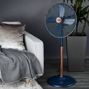 Cavaletto Metal Pedestal Fan, 16in - Rose Gold/Midnight Blue