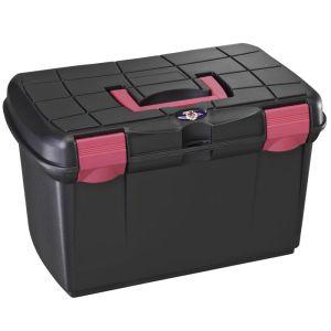 Protack Grooming Box - Medium, Black/Raspberry