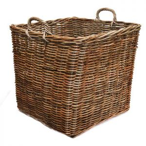 Extra Large Square Wicker Log Basket - Brown