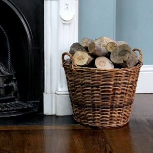 Medium Tapered Round Log Basket - Brown