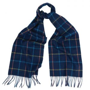 Barbour Tattersall Lambswool Scarf -Navy/Blue Check