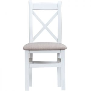 Taunton White Cross Back Dining Chairs, Fabric Seat - Set of 2