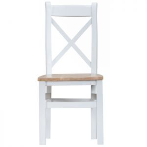 Taunton White Cross Back Dining Chairs, Wooden Seat - Set of 2