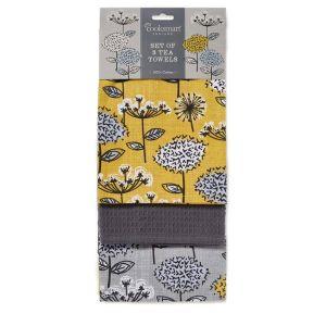 Cooksmart Tea Towels, Pack of 3 – Retro Meadow