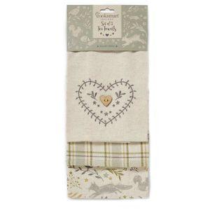 Cooksmart Tea Towels, Pack of 3 – Woodland
