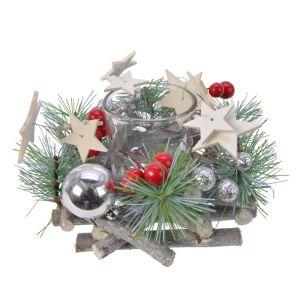 Kaemingk Christmas Glass Tealight Holder - 13cm