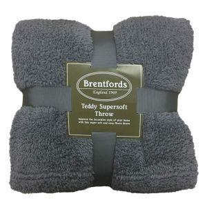 Brentfords Teddy Fleece Throw - Charcoal