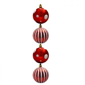 Red and White Baubles - 4 Pack