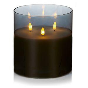 Premier Flickabrights Grey Glass Cup Candle - 15cm