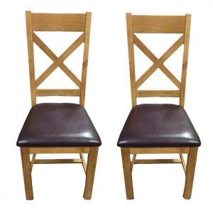 Torino Oak Cross Back Dining Chairs, Normandy - Set of 2