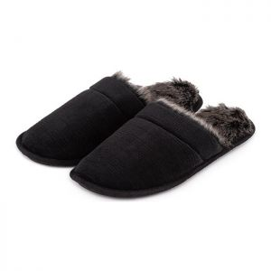 Totes Men's Check Velour Mule Slippers – Black