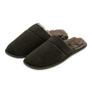 Totes Men's Check Velour Mule Slippers – Khaki