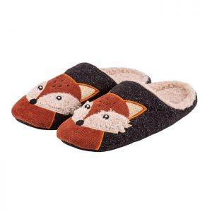 Totes Men's Fox Mule Slippers – Grey