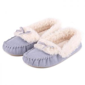 Totes Women's Cord Faux Fur Moccasin Slippers – Blue