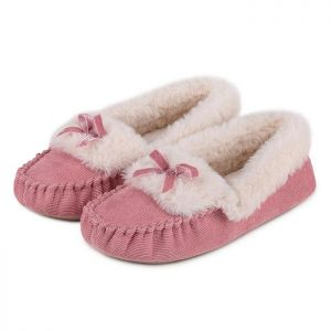 Totes Women's Cord Faux Fur Moccasin Slippers – Pink