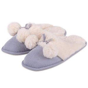 Totes Women's Cord Pom Pom Mule Slippers – Blue