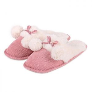 Totes Women's Cord Pom Pom Mule Slippers – Pink