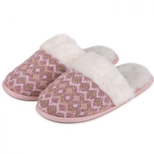 Totes Women's Fairisle Knitted Mule Slippers – Pink