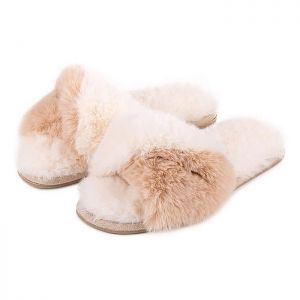 Totes Women's Faux Fur Slider Slippers – Cream