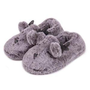 Totes Women's Fluffy Reindeer Slipper – Grey