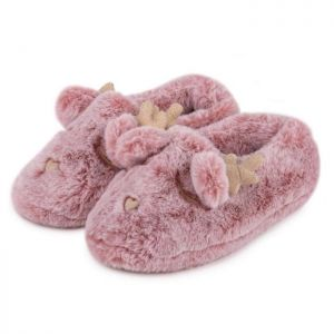 Totes Women's Fluffy Reindeer Slipper – Pink