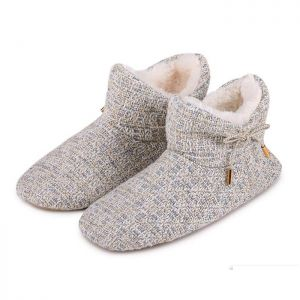 Totes Women's Tweed Boot Slippers – Grey