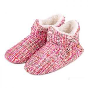 Totes Women's Tweed Boot Slippers – Pink