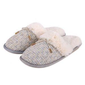 Totes Women's Tweed Mule Slippers – Grey